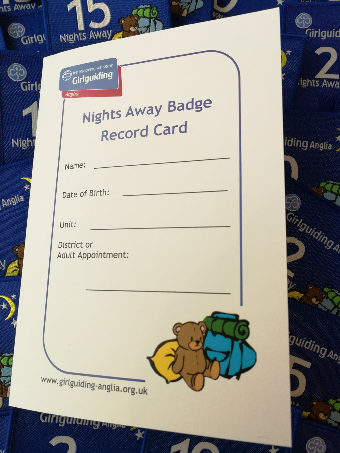 image relating to Anglia Nights Away Record Card